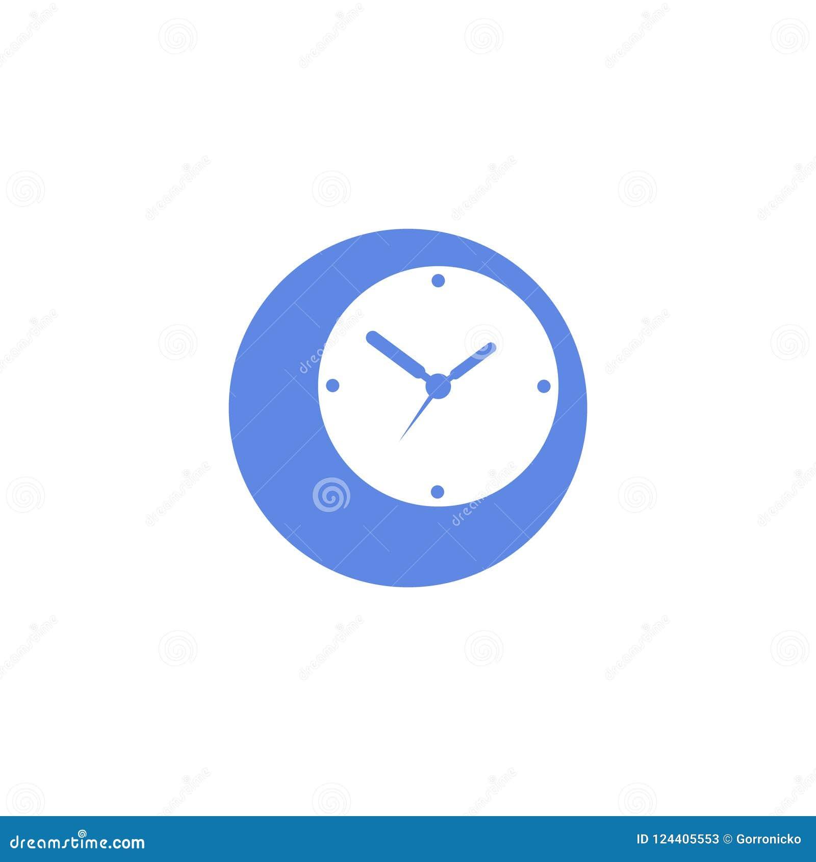 Simple Vector Flat Art Round Icon Of Analog Clock Stock