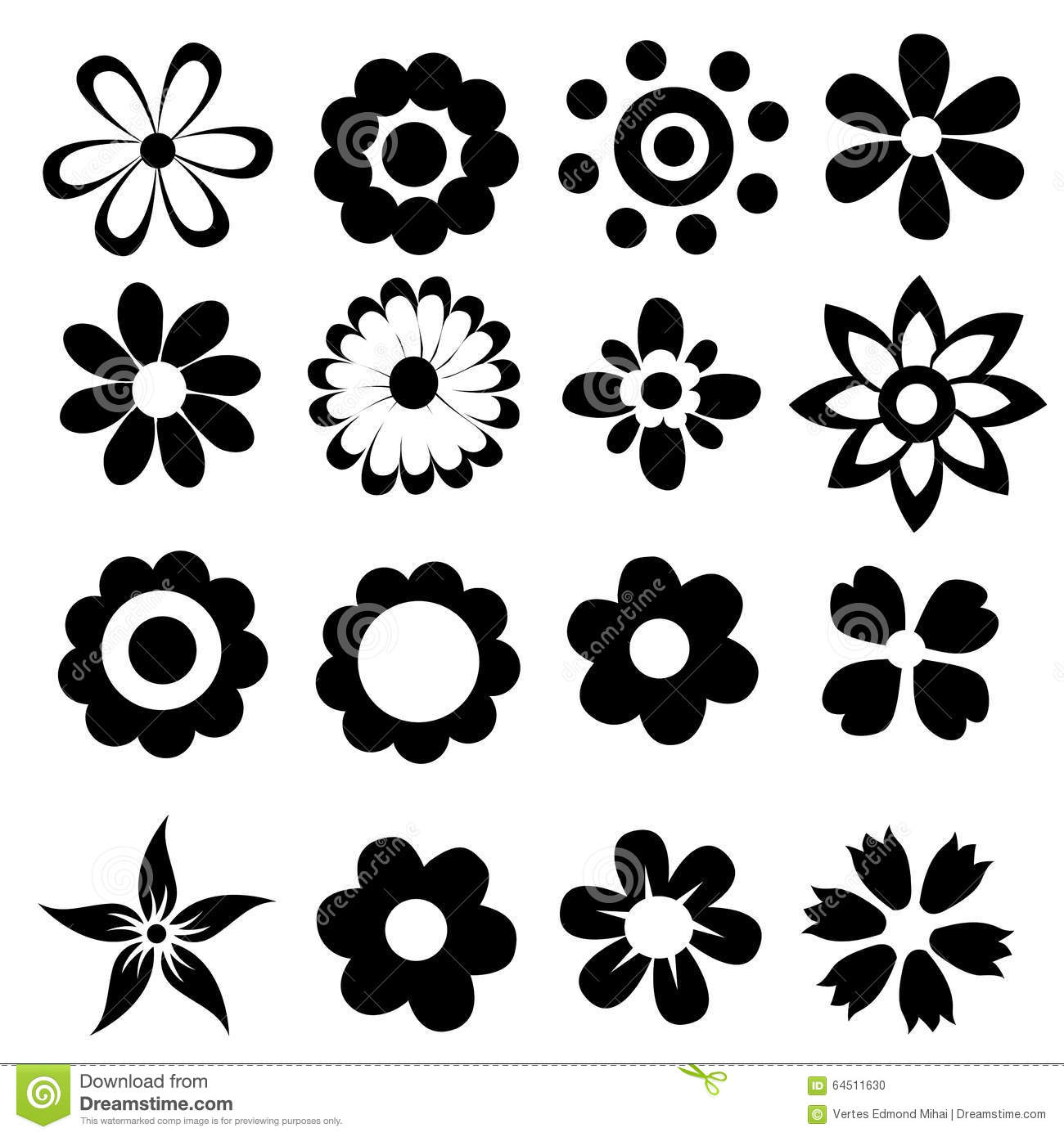 Simple Vector Flowers Stock Vector Image 64511630