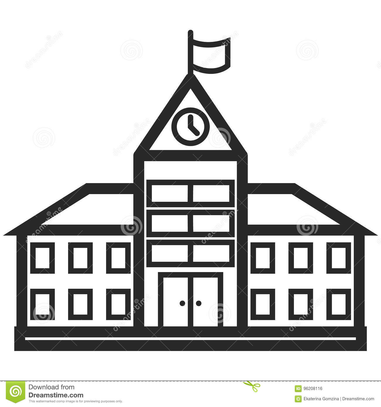 Line Art Building : Simple vector icon of a school building in line art style