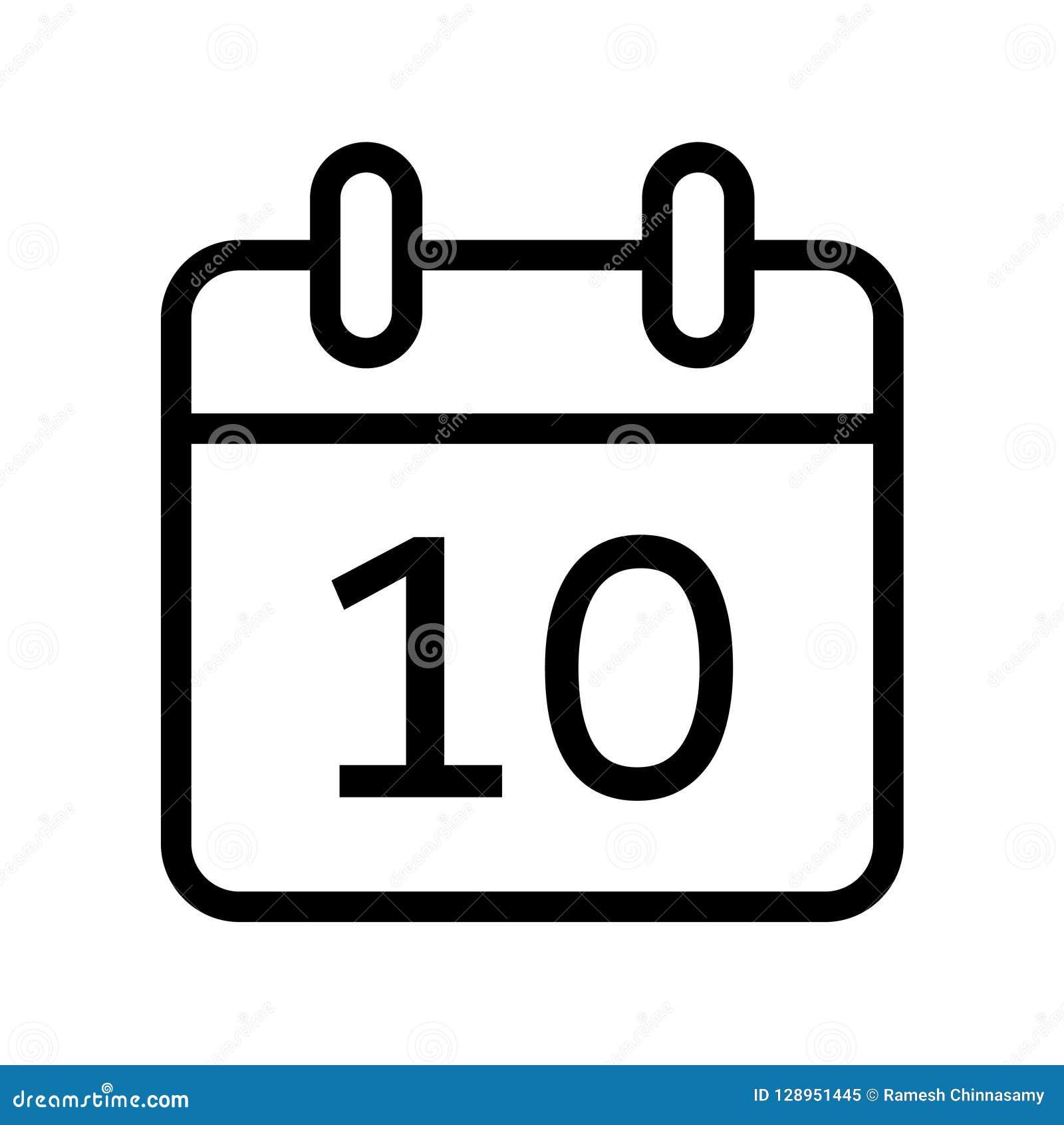 Calendar Days Icon.Calendar Day Ten Date Icon Stock Vector Illustration Of Design
