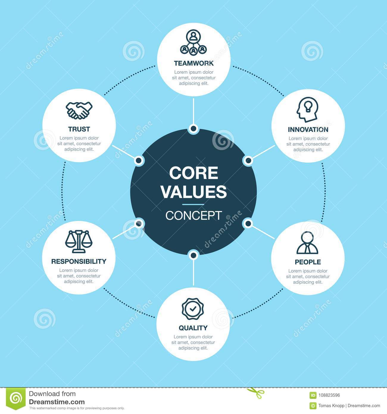 Simple Vector Infographic For Core Values Template Stock