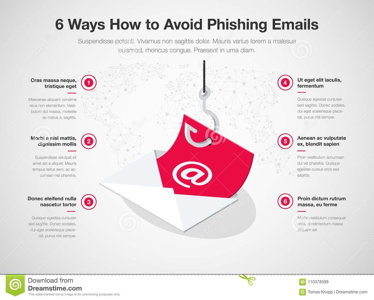 Simple Vector Infographic For 6 Ways How To Avoid Phishing