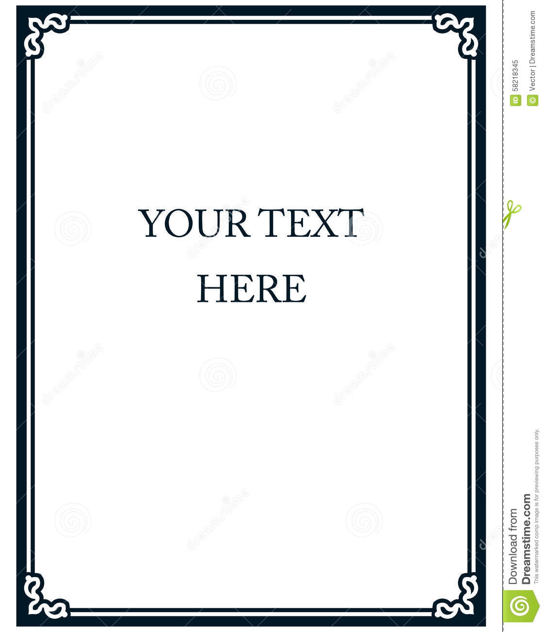 Simple Vector Line Border Frame Isolated Illustration Stock Vector ...