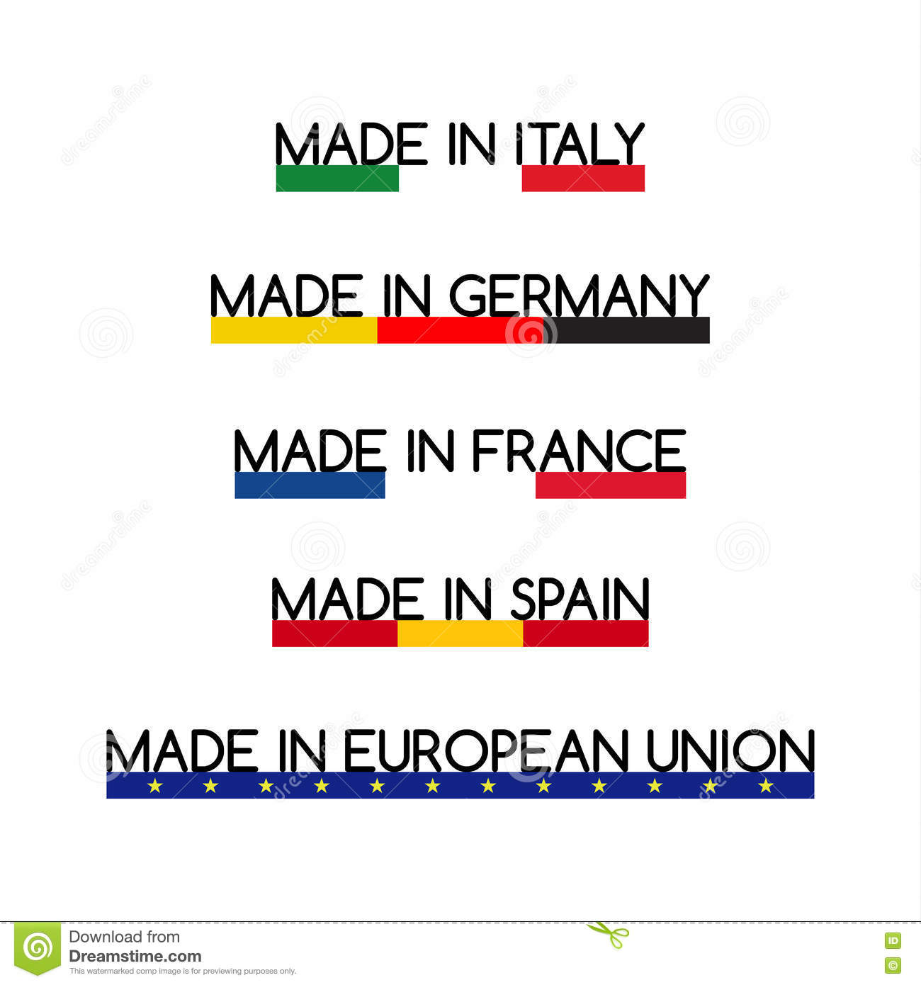 Simple Vector Logos Made In Italy Made In Germany Made In France - Is spain in france