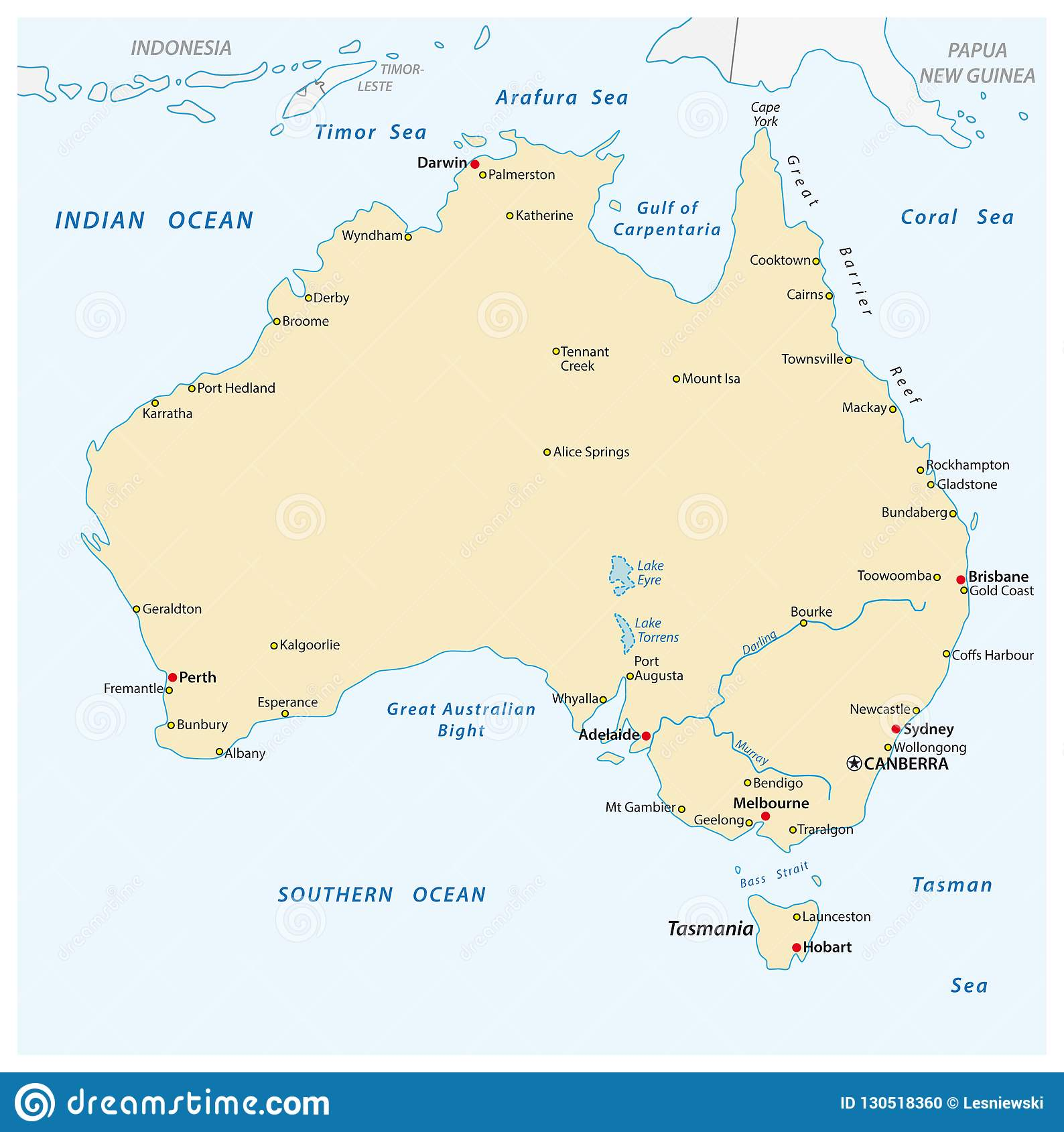 Australia Map Simple.A Simple Vector Outline Map Of Australia Stock Vector Illustration