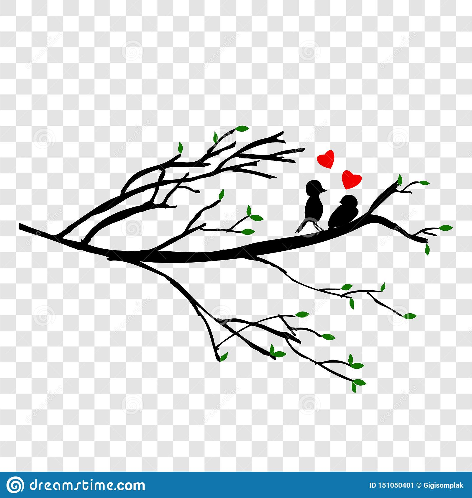 Simple Vector Silhouette Hand Draw Sketch Falling In Love Couple Of Birds At Black Branch At Transparent Effect Background Stock Vector Illustration Of Illustration Couple 151050401