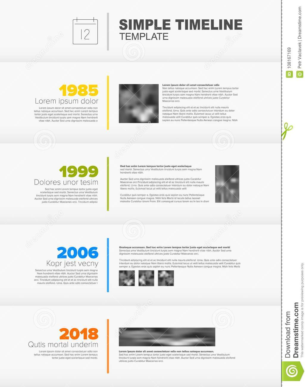 simple vertical timeline template stock vector illustration of