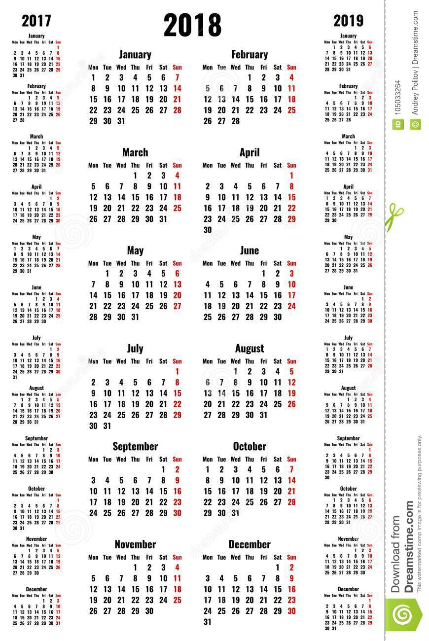 simple vertical vector calendars for 2018 and 2017 2019 years stock