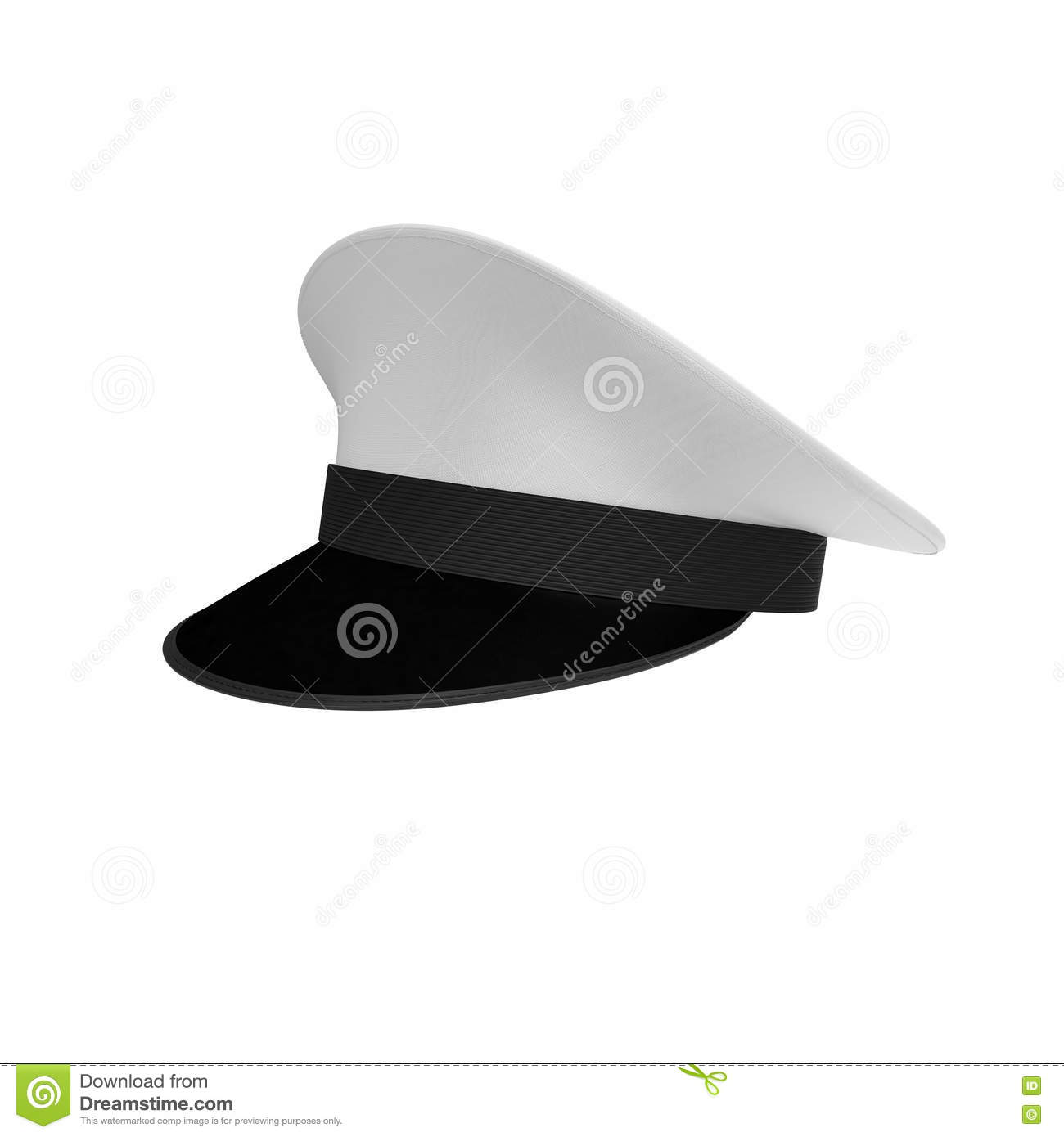 Simple Vintage Navy Hat, Isolated On White  3D Illustration Stock
