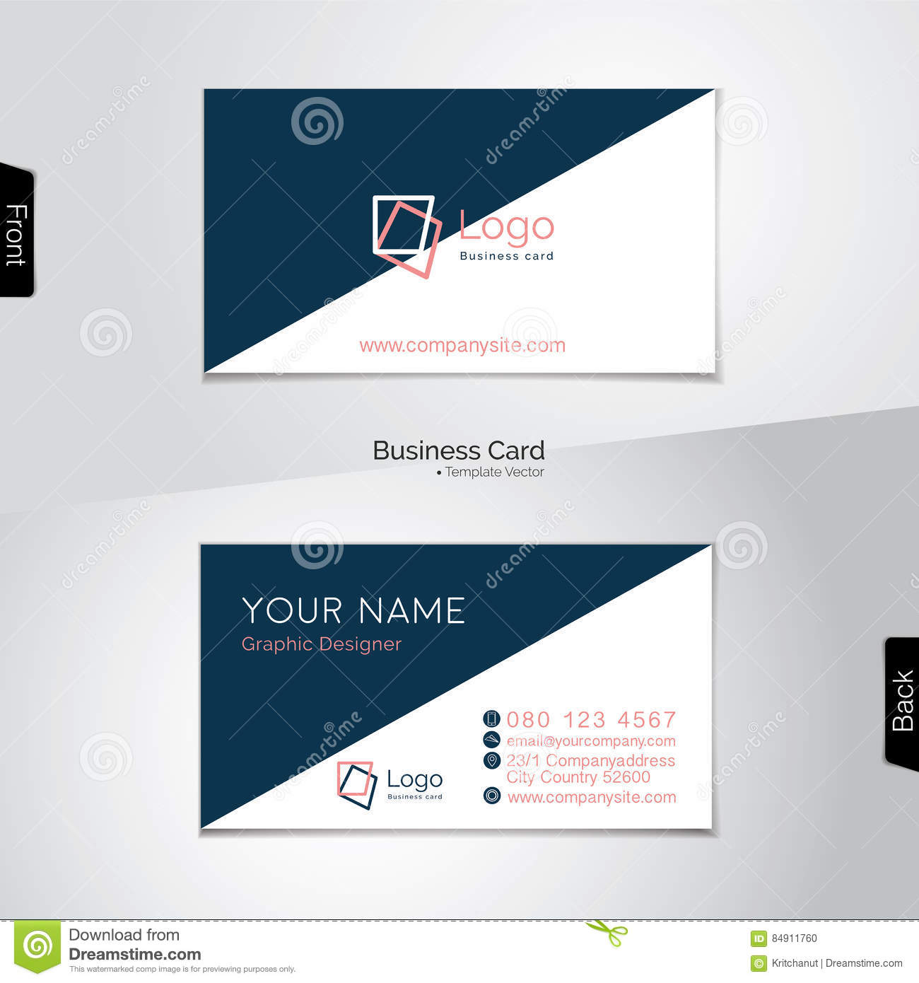 Simple white and dark blue business card vector template stock simple white and dark blue business card vector template stock vector illustration of white diagonal 84911760 reheart Image collections