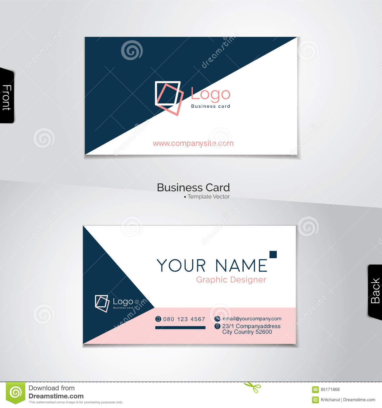 Simple white pink and dark blue business card stock vector download simple white pink and dark blue business card stock vector illustration of contemporary reheart Images