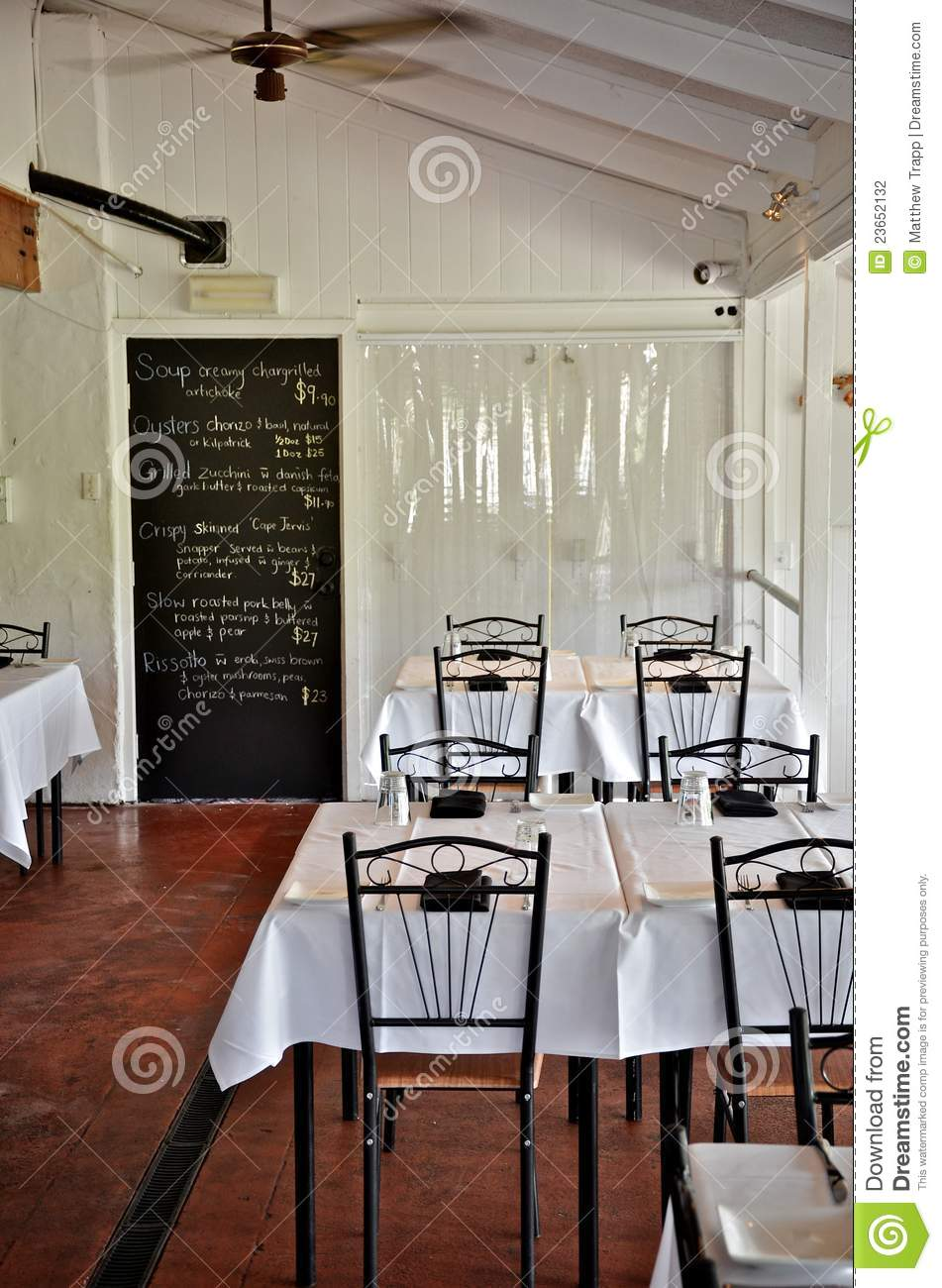 Simple White Restaurant Interior Stock Photography Image