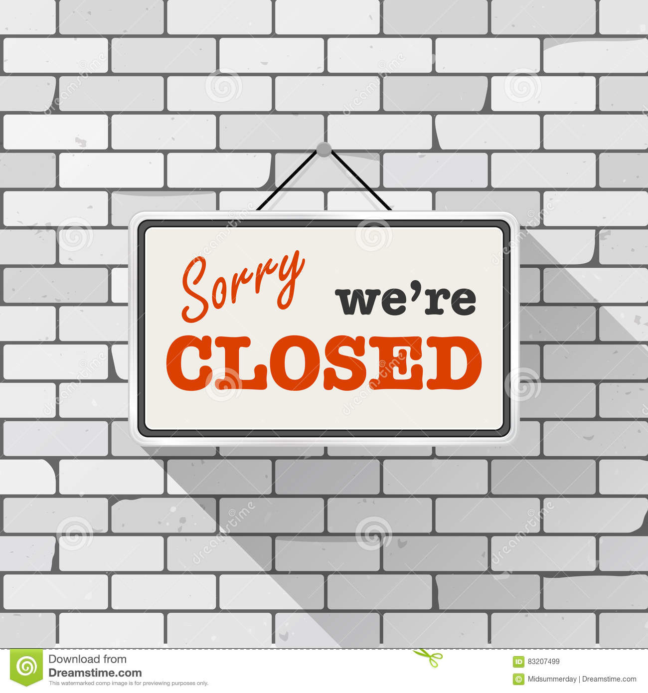 Simple White Sign With Text `Sorry We`re Closed` Hanging