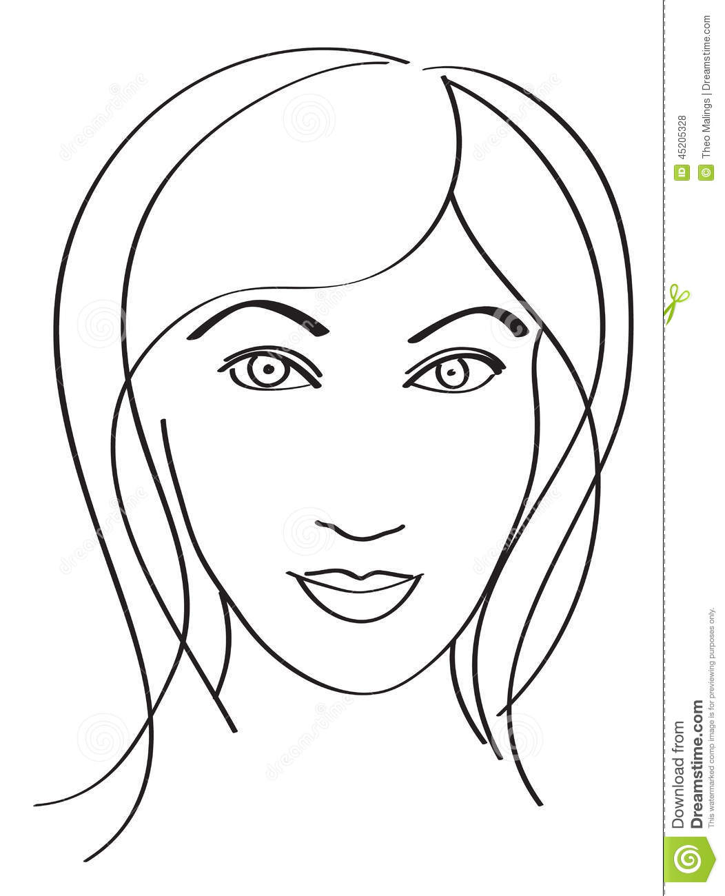 Line Drawing Face Earrings : Simple woman s face stock vector illustration of