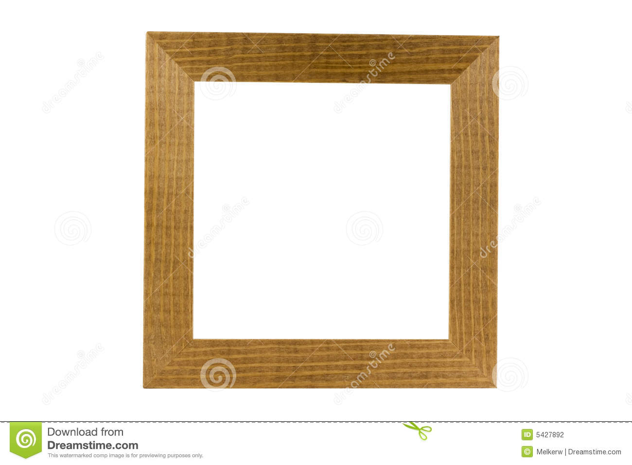 Simple Wood Frame Isolated On White, Clipping Path Stock Photography ...