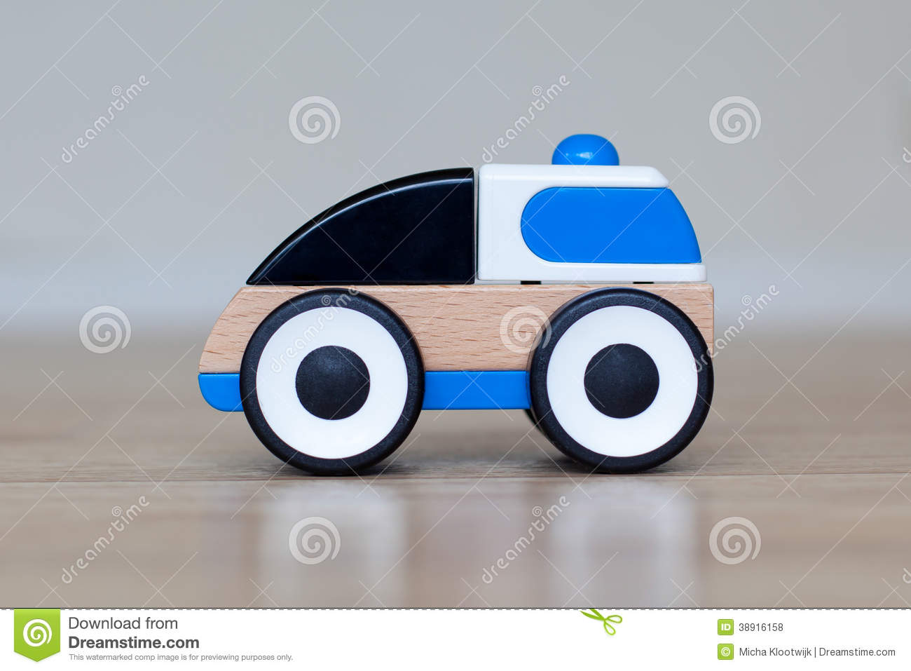 Simple Wood And Plastic Toy Police Car Stock Photo Image