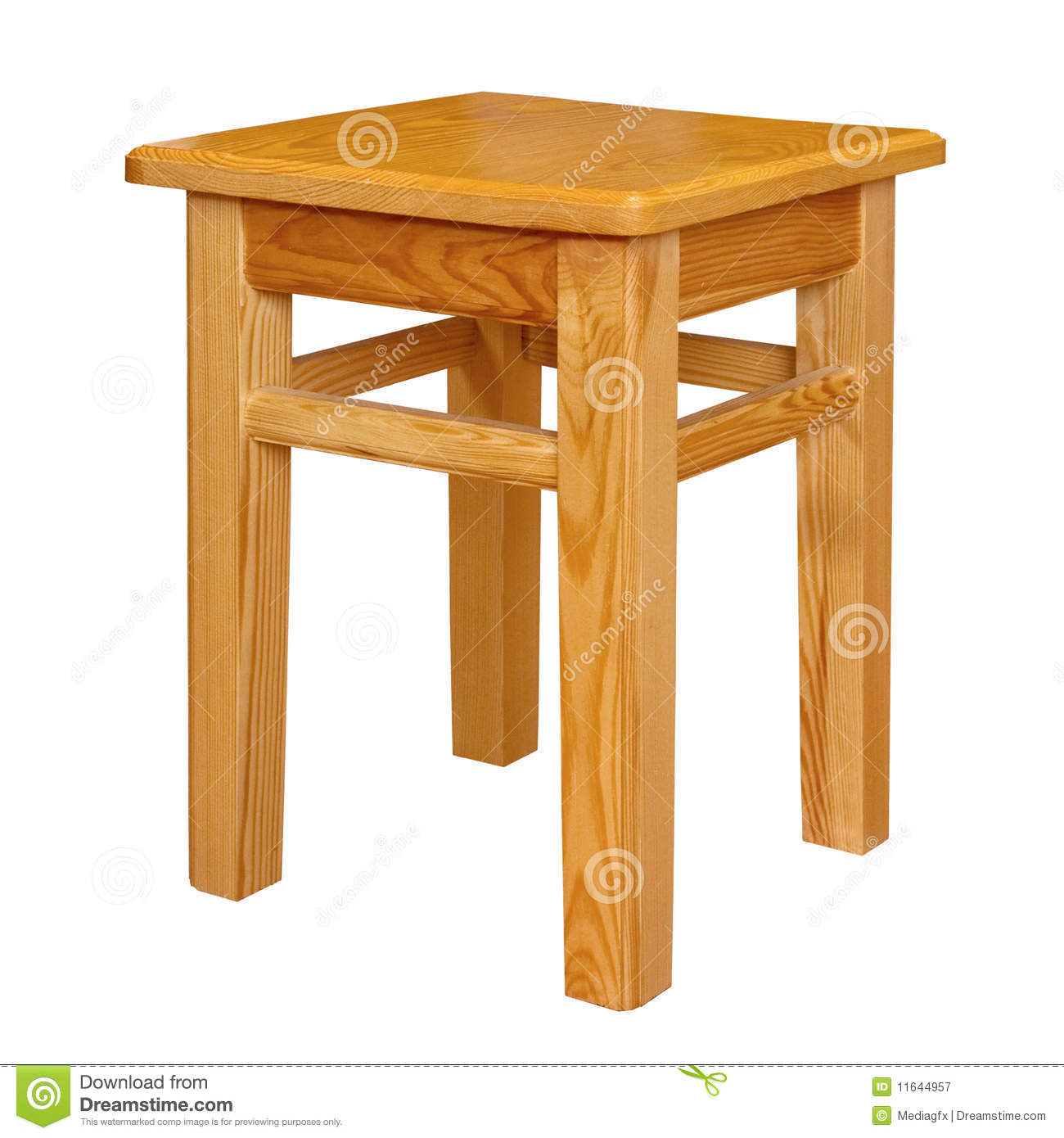 Simple Wood Stool Isolated Royalty Free Stock Photography