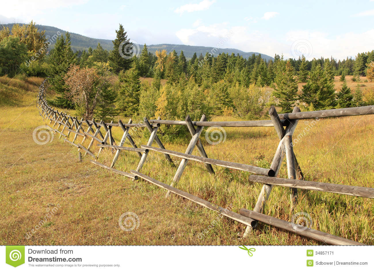 Simple Wooden Fence Traverses The Fall Landscape Of Montana Stock Image Image Of Pine