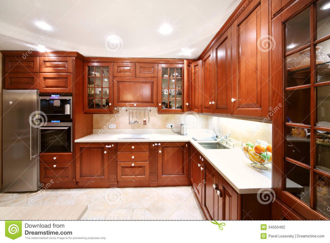 Simple Wooden Kitchen Cupboards Countertops Refrigerator Stock Photography Image 34550462