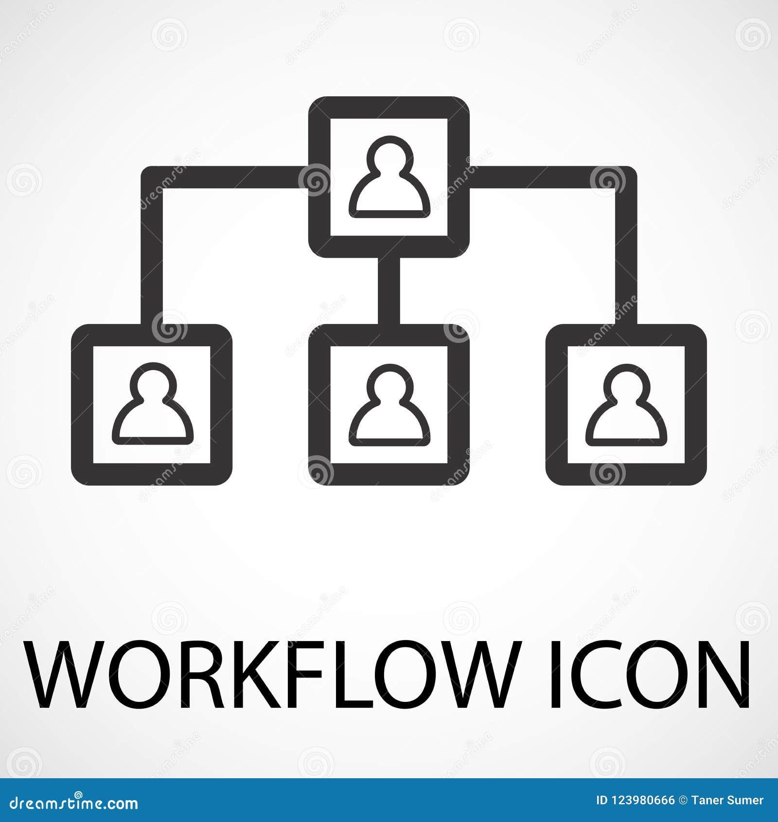 Simple workflow line art icon, vector