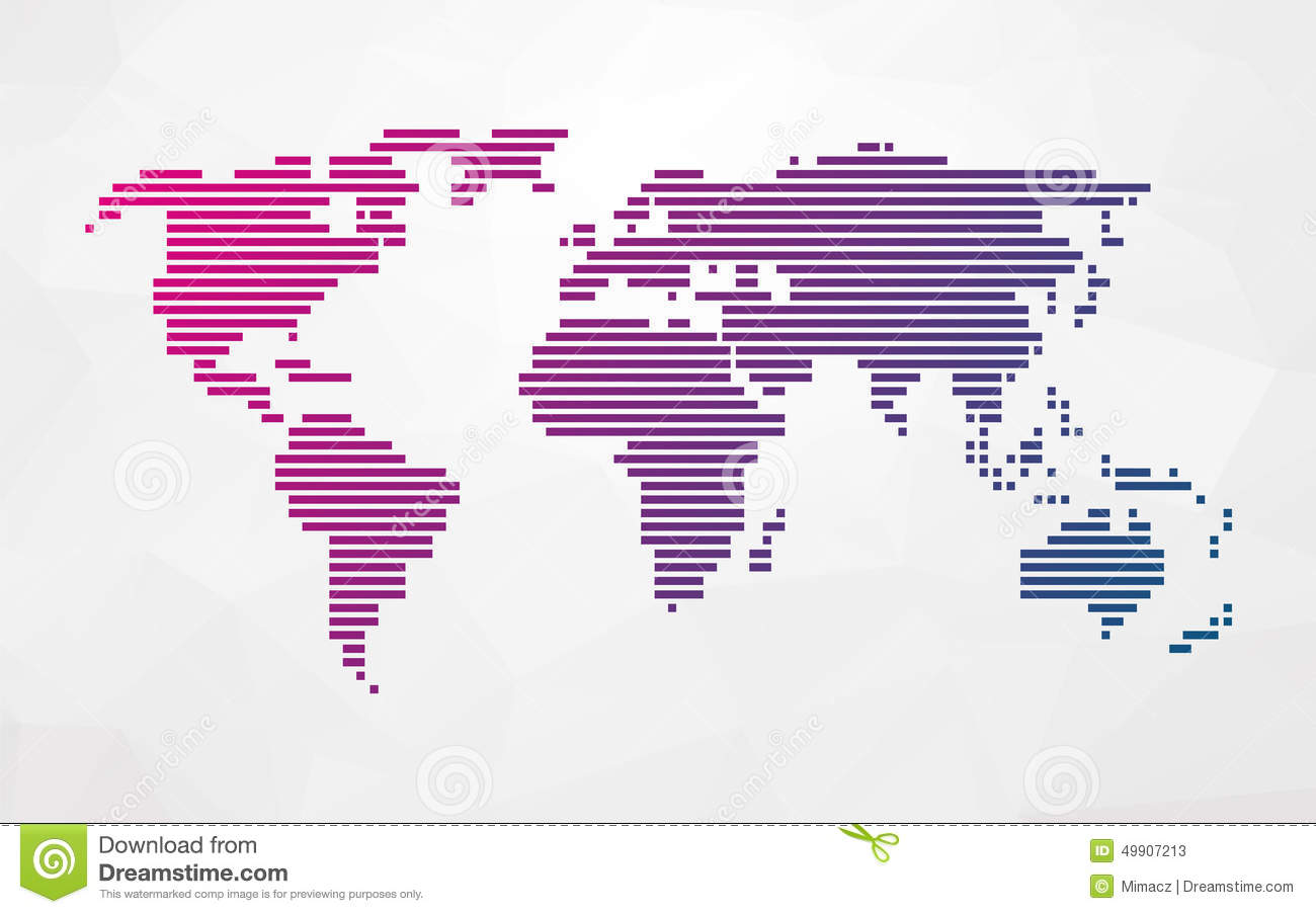 Simple World Map Made Up Of Colored Stripes Stock Vector ...
