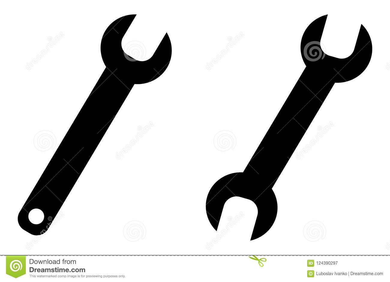 Simple Wrench Spanner Key Tool Symbol Open End And One Way Ve Stock