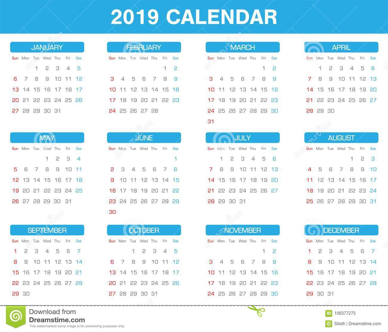 simple 2019 year calendar set of all month stock vector
