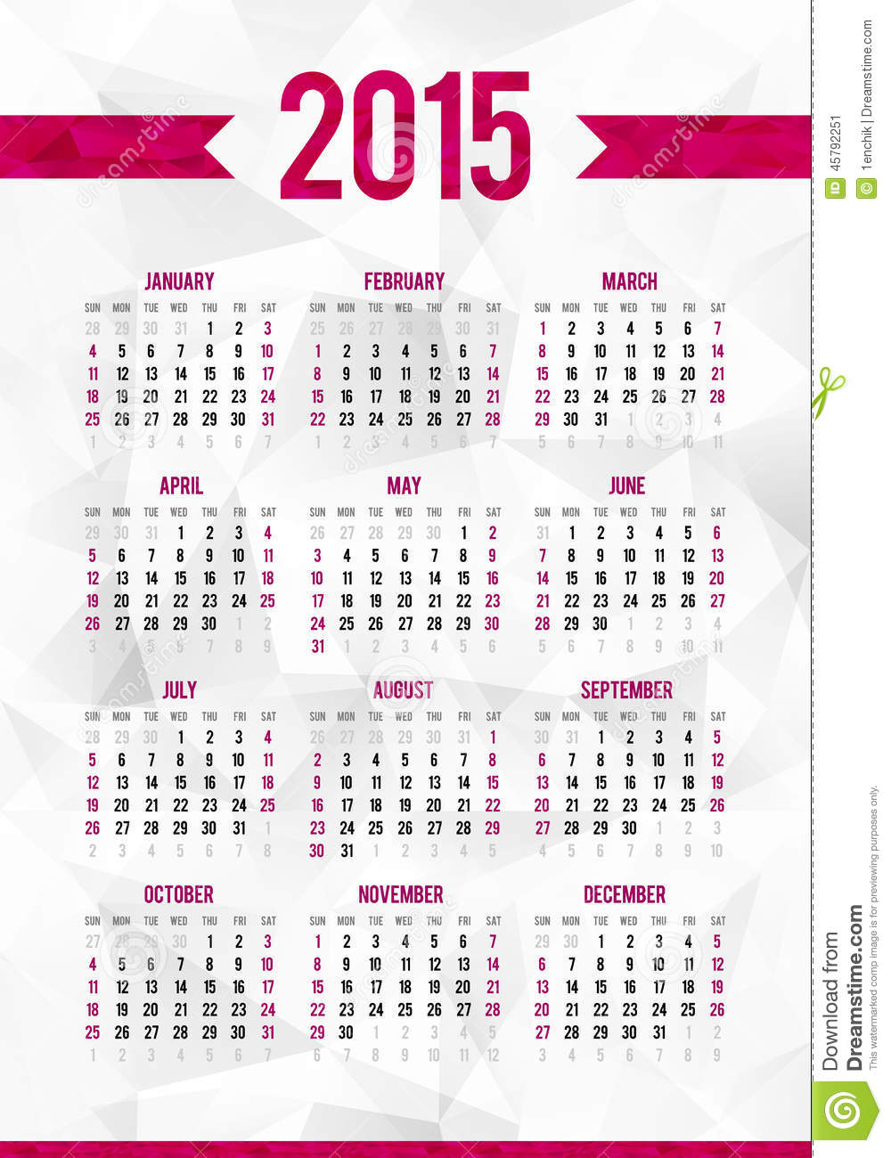 simple 2015 year calendar template on abstract stock vector