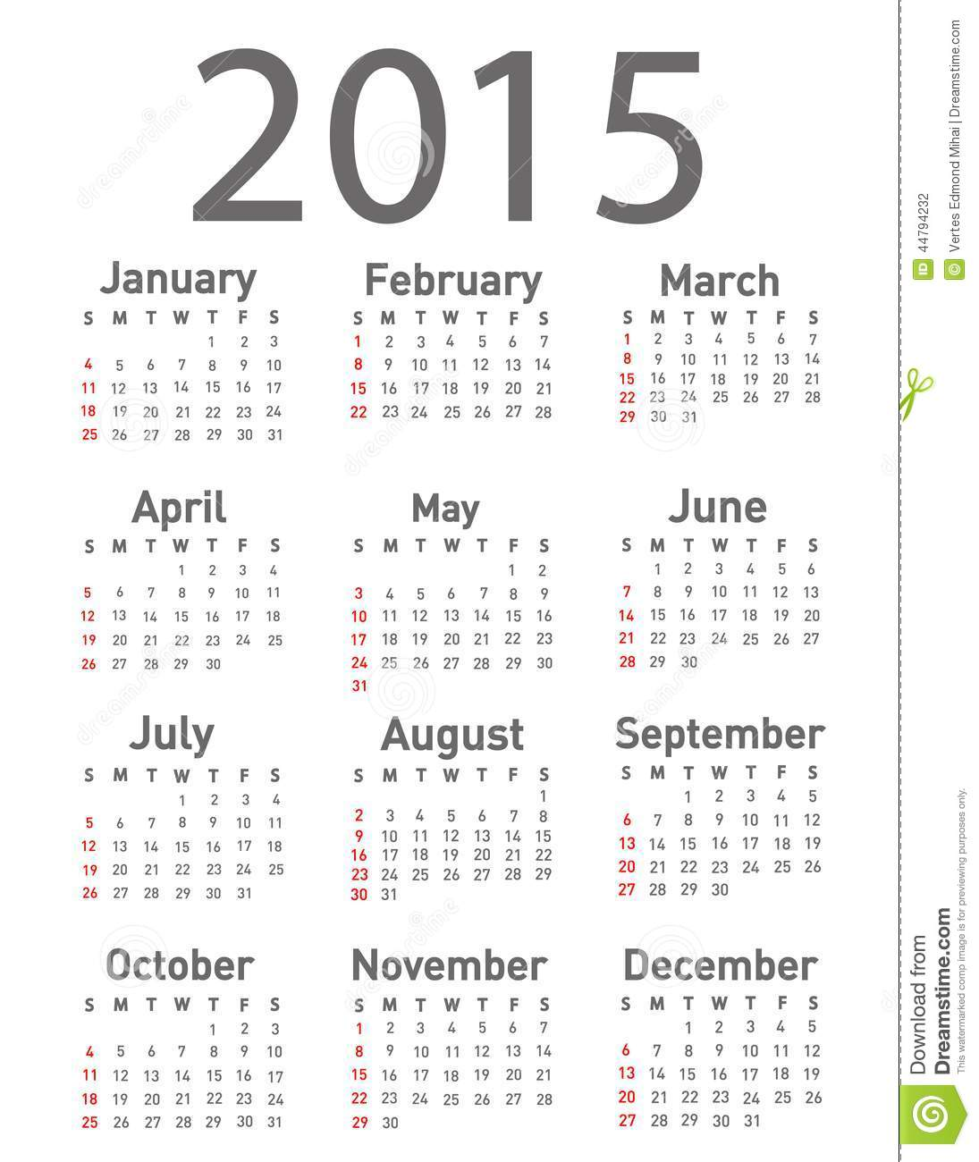 download simple 2015 year calendar stock vector illustration of date 44794232