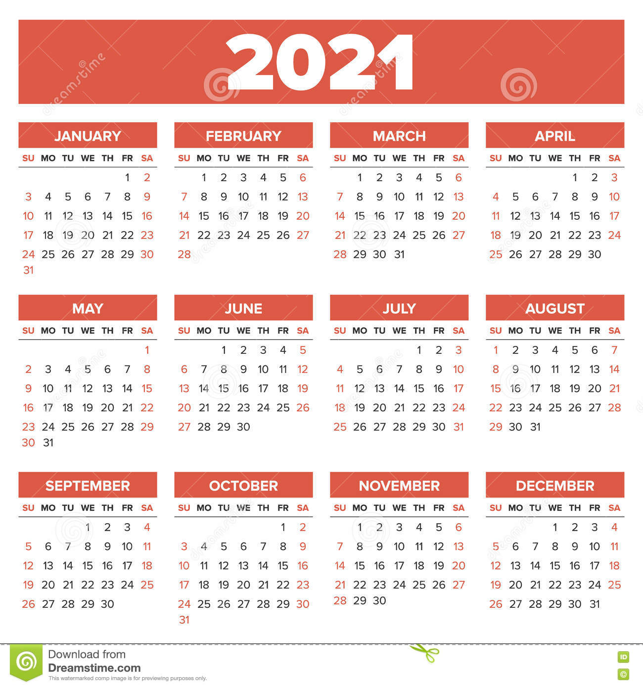 Simple 2021 year calendar stock vector. Illustration of english