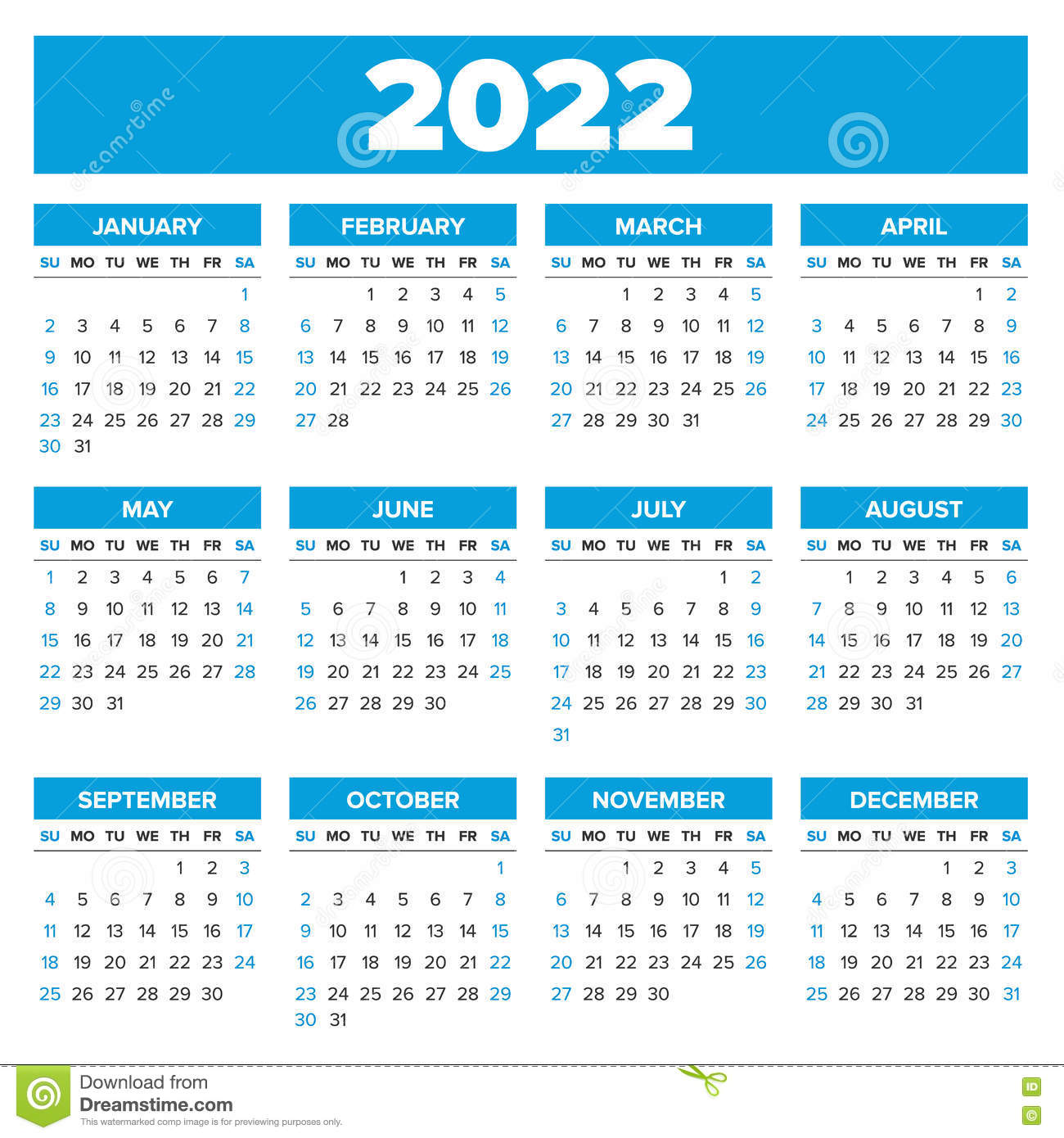 Simple 2022 year calendar stock vector. Illustration of ...