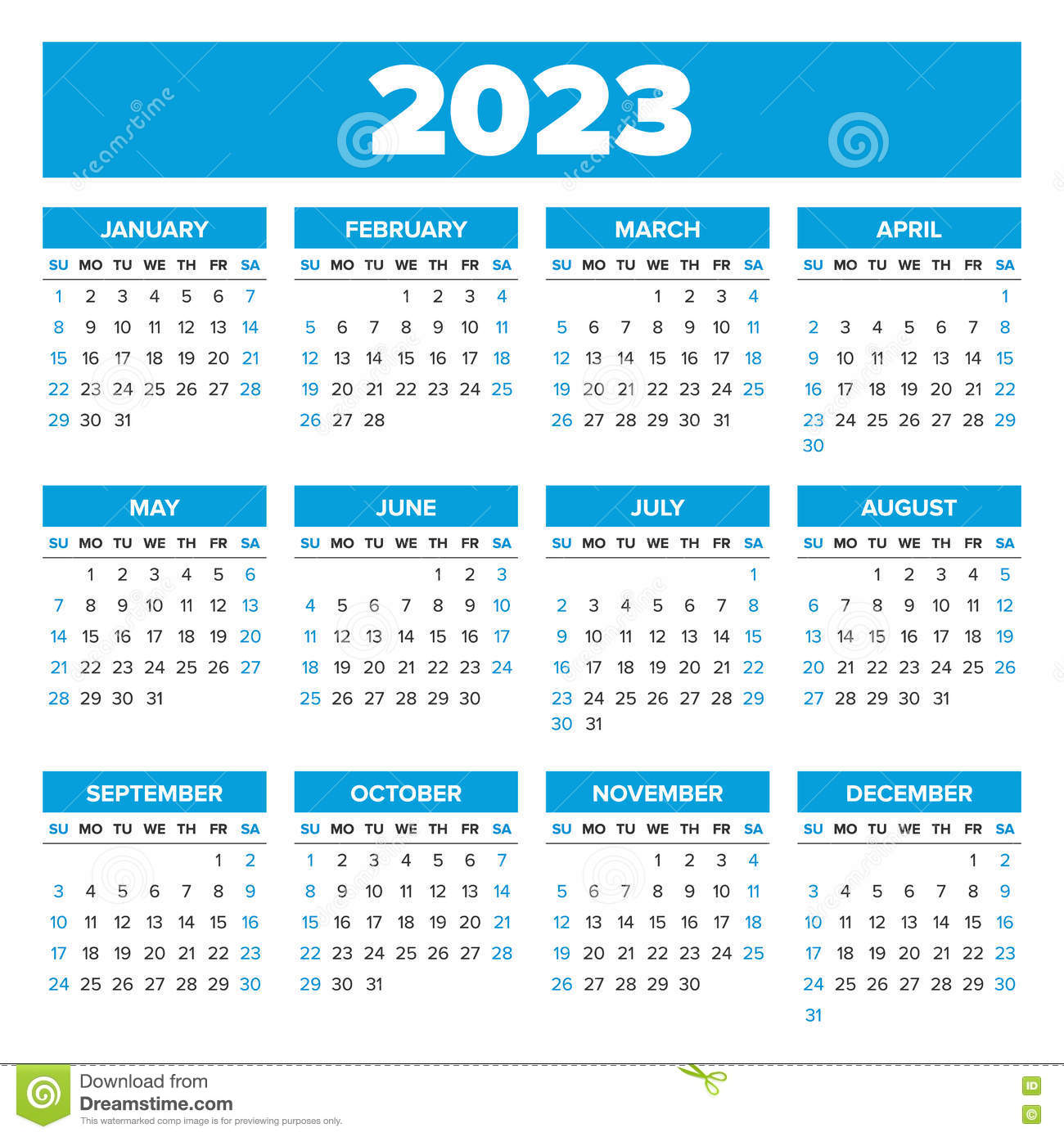 Simple 2023 year calendar stock vector. Illustration of ...