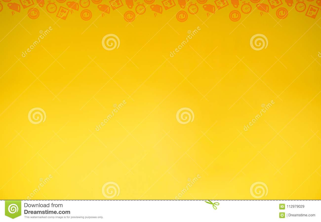 Simple yellow illustration with icons.