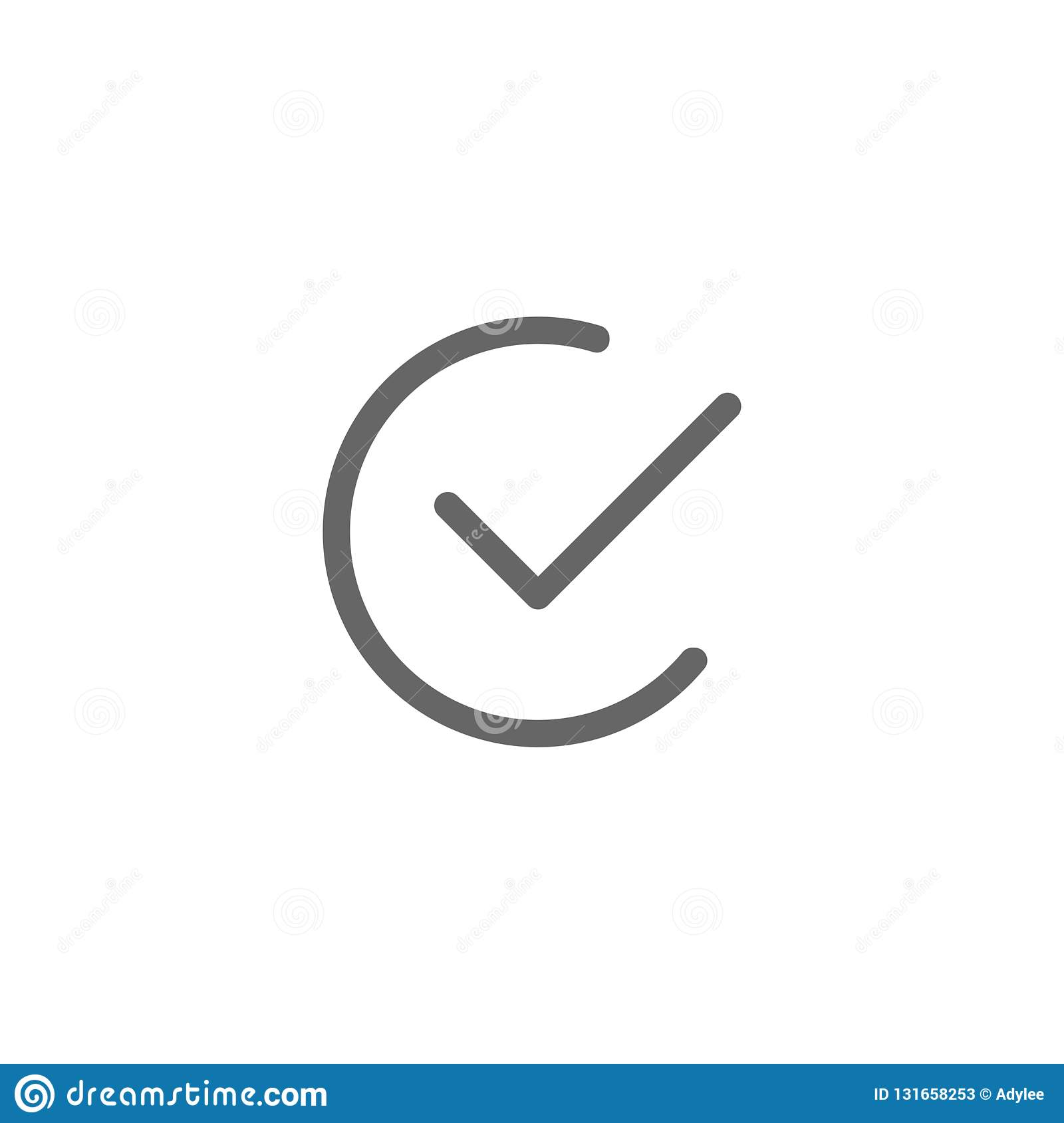 Simples redondo do ícone liso do sinal da verificação do vetor