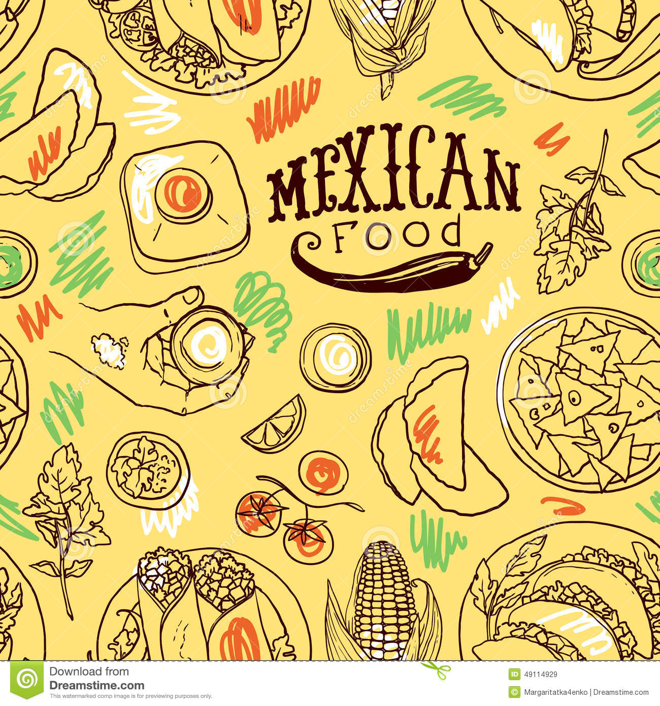 simpless pattern mexican food stock vector illustration