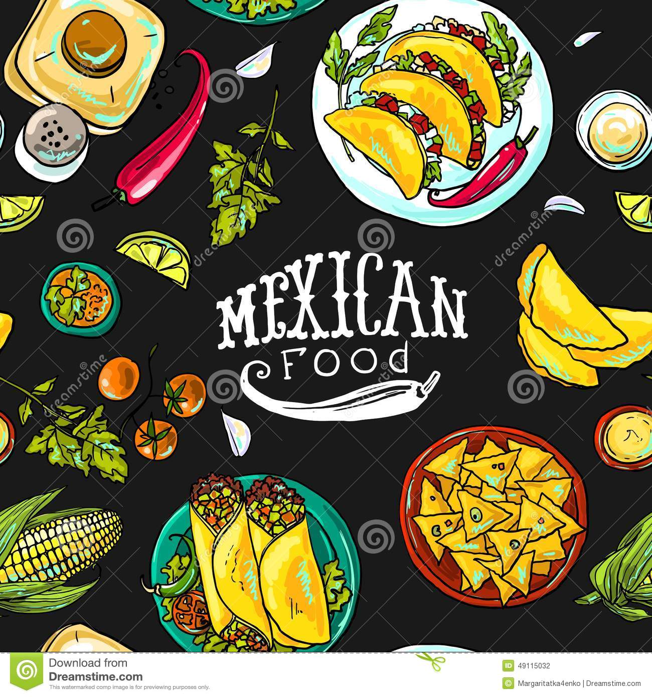 simpless pattern mexican food stock vector image 49115032