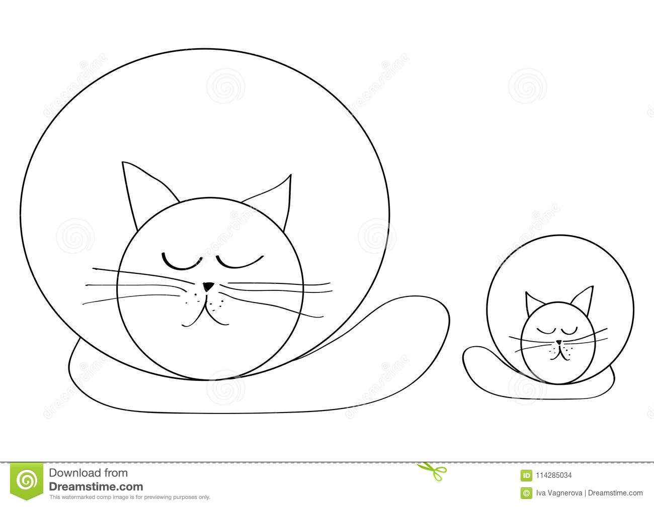 Simplicity drawing cat and kitty relaxing and sleeping isolated on white background
