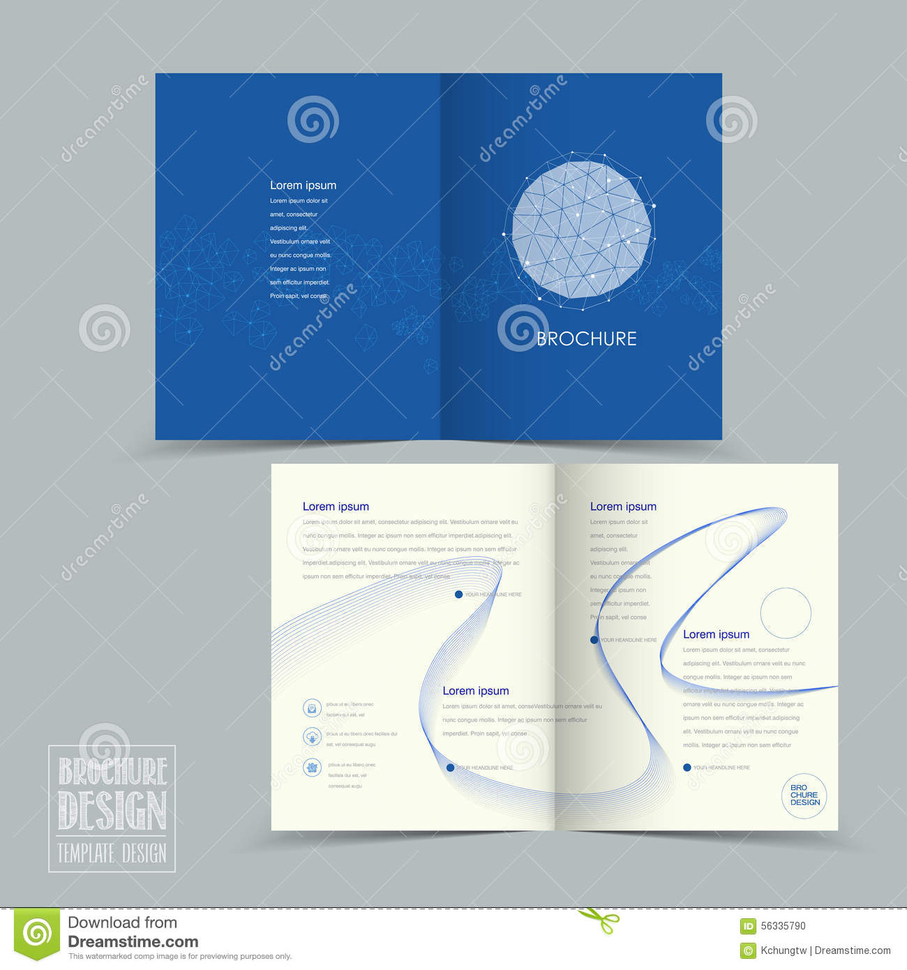 simplicity half fold brochure template design stock vector