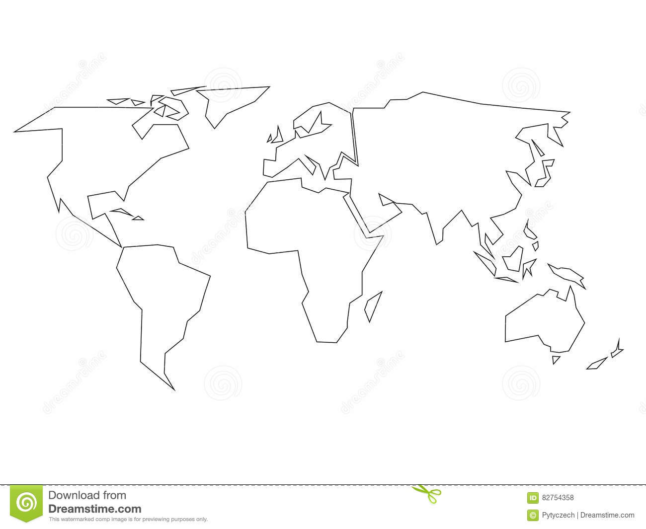 Simplified Black Outline Of World Map Divided To Six Continents - World map drawing outline