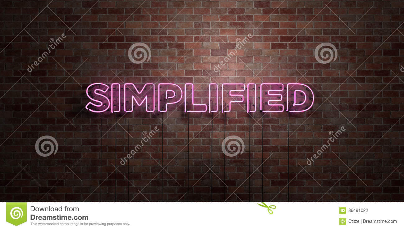 SIMPLIFIED - fluorescent Neon tube Sign on brickwork - Front view - 3D rendered royalty free stock picture