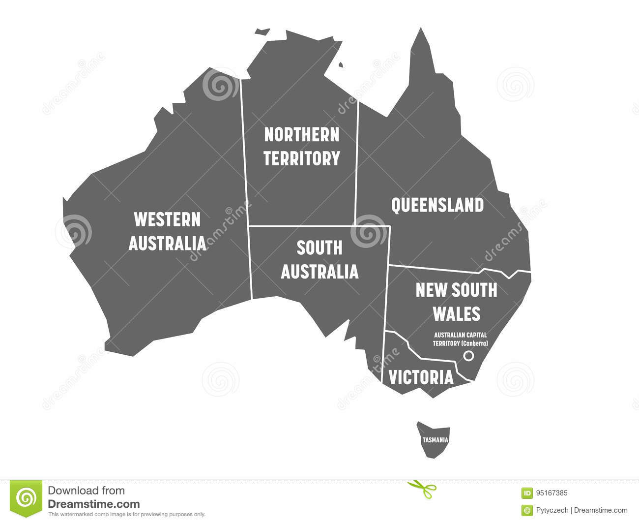 Map Of Australia And States.Simplified Map Of Australia Divided Into States And Territories