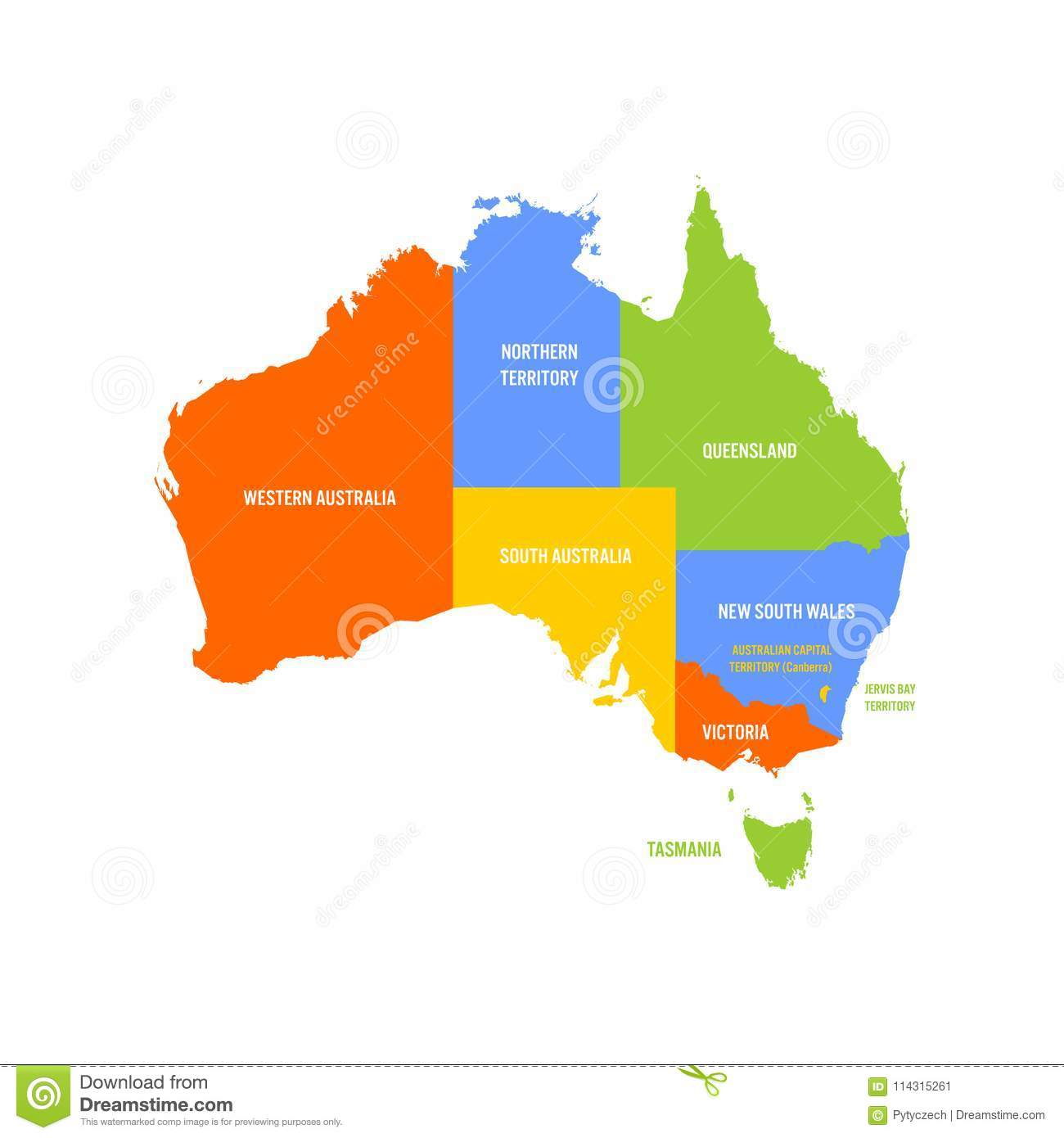 Map Of Australia By State.Simplified Map Of Australia Divided Into States And Territories