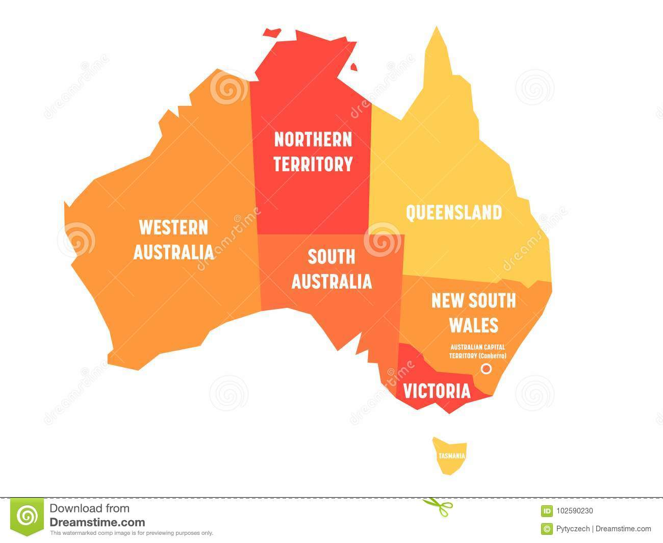 Australia Map Vector With States.Simplified Map Of Australia Divided Into States And Territories