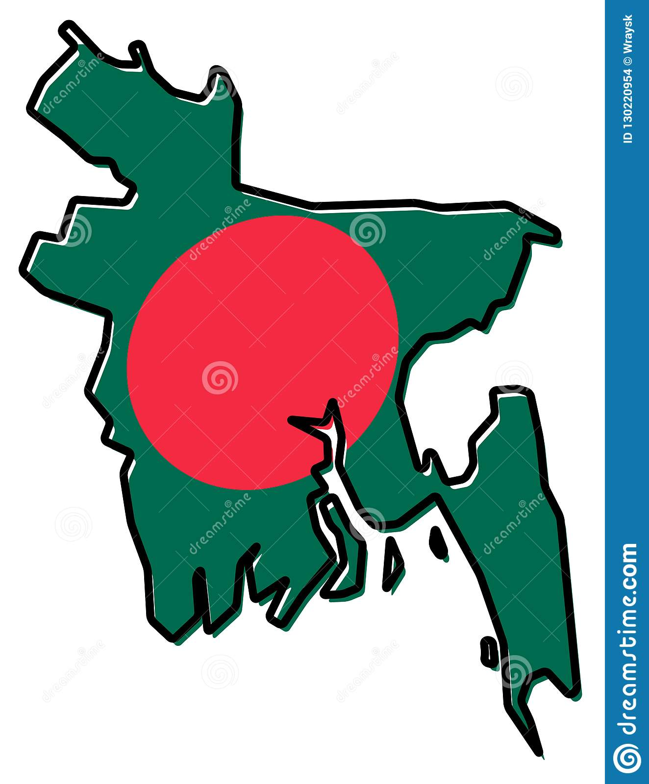 Simplified Map Of Bangladesh Outline, With Slightly Bent