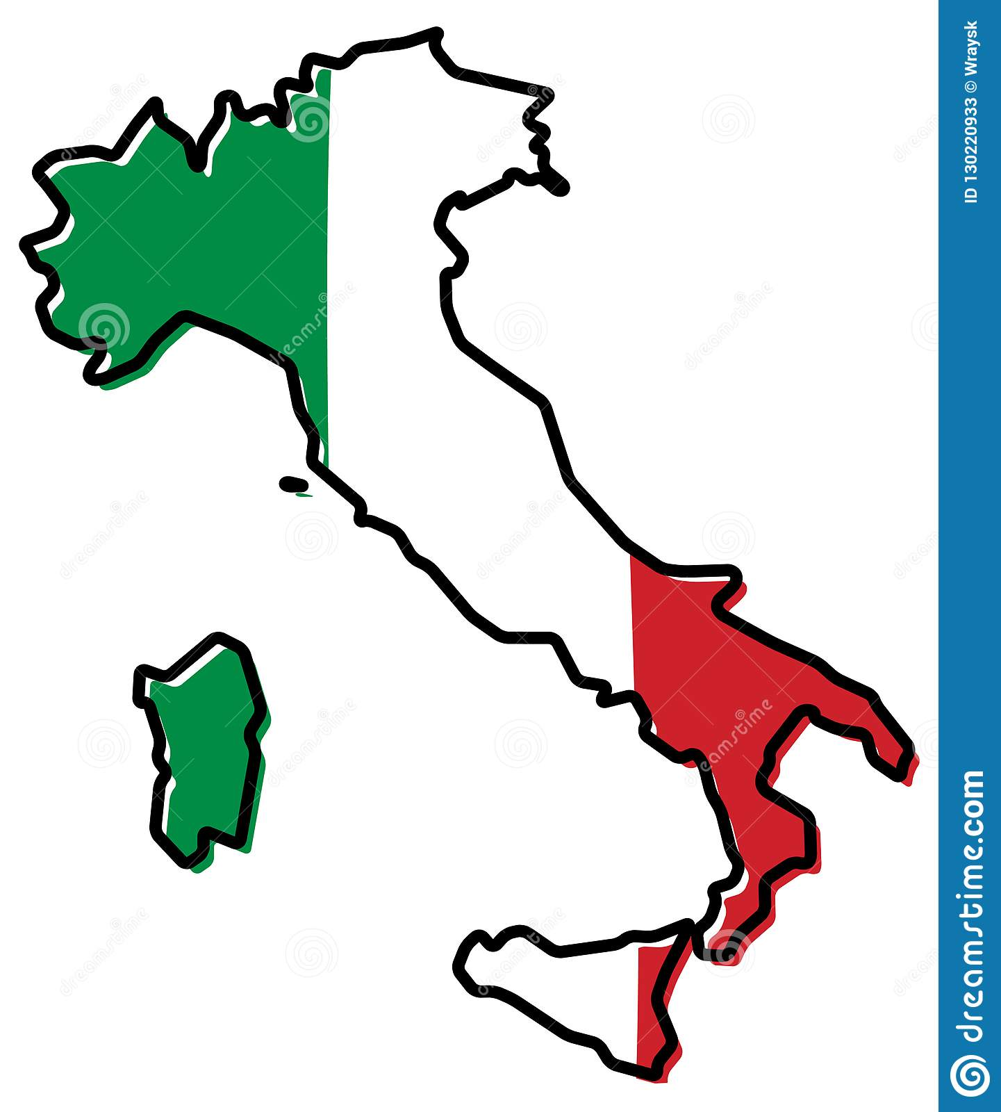 Map Of Italy Outline.Simplified Map Of Italy Outline With Slightly Bent Flag Under I