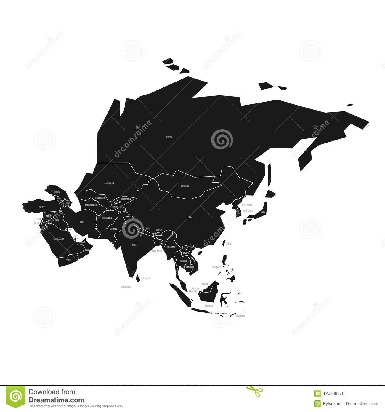 Map Of Asia Black And White.Simplified Schematic Map Of Asia Vector Political Map In High