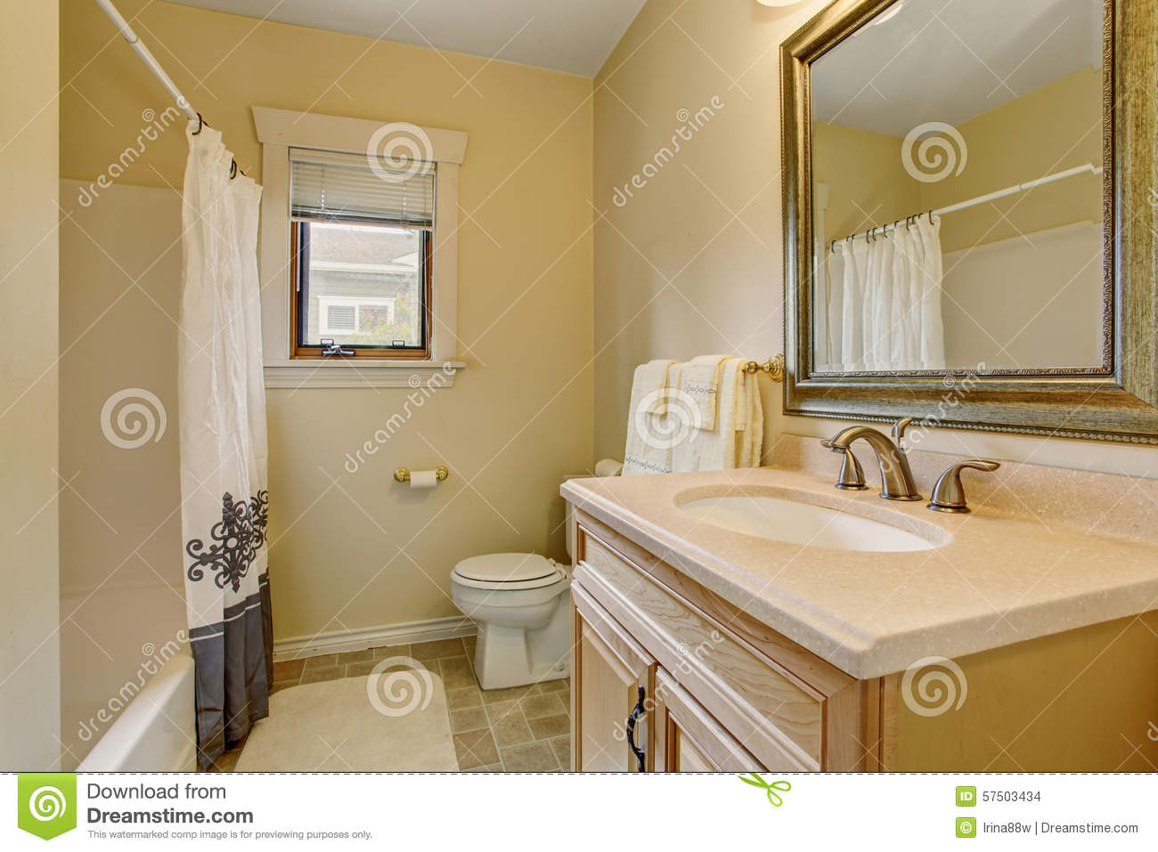 Modern Bathroom With Decorative Shower Curtain Royalty Free Stock Image
