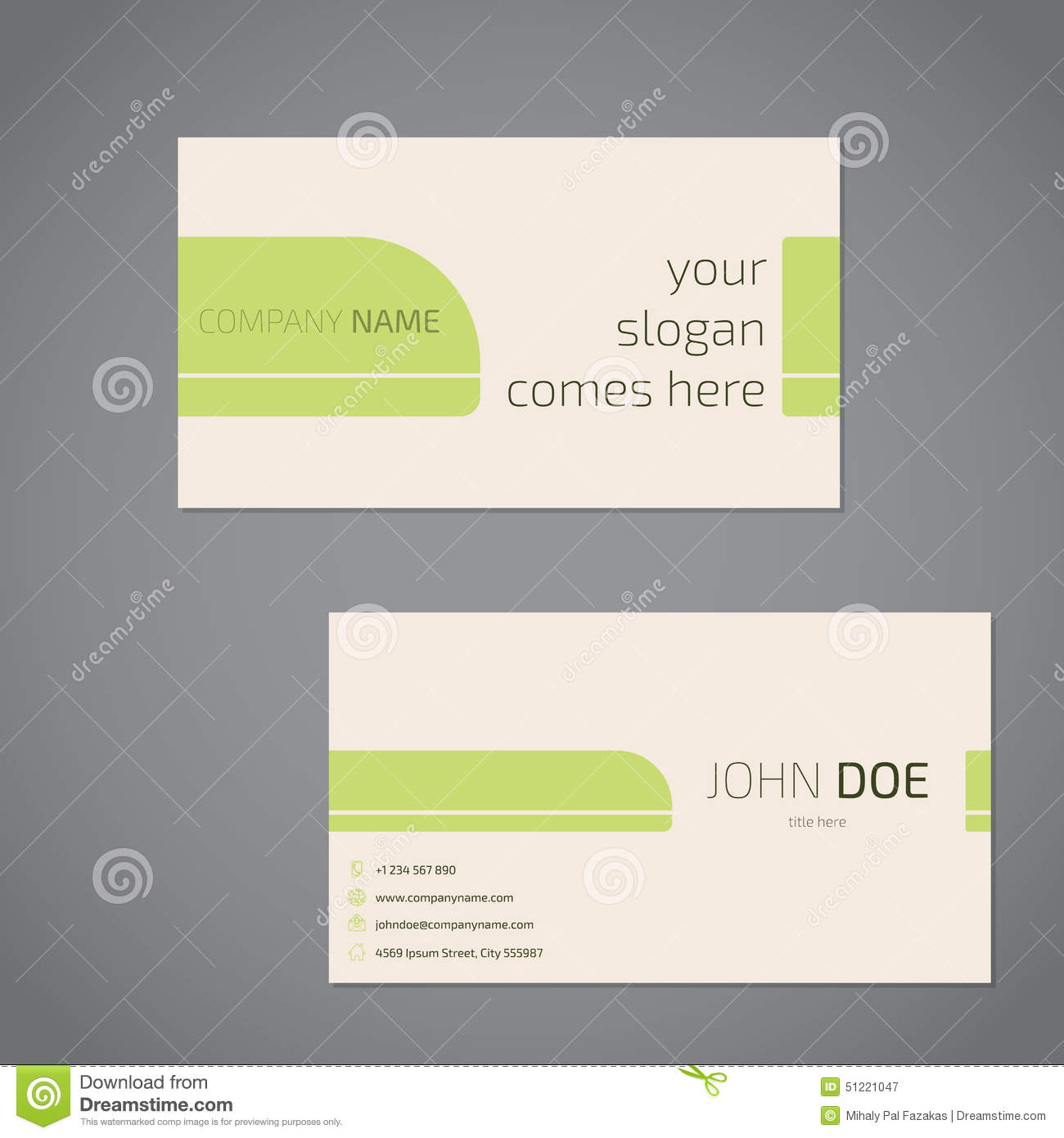 Business card or visiting card template stock vector illustration simplistic business card design with slogan royalty free stock photography colourmoves