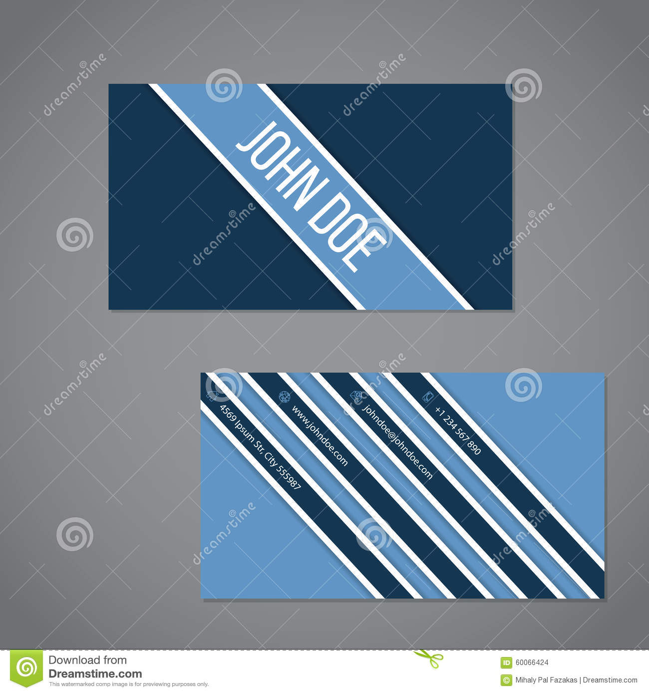 Simplistic Business Card With Stripe Design Stock Vector - Image ...