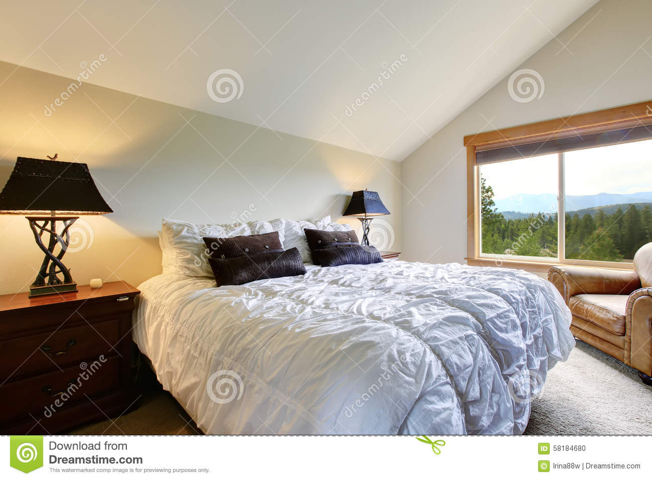 Simplistic Master Bedroom With Grey Bedding Black Nightstands And